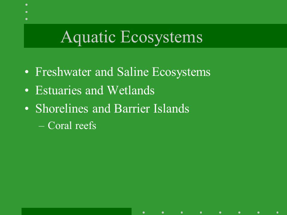 Aquatic Ecosystems Freshwater and Saline Ecosystems