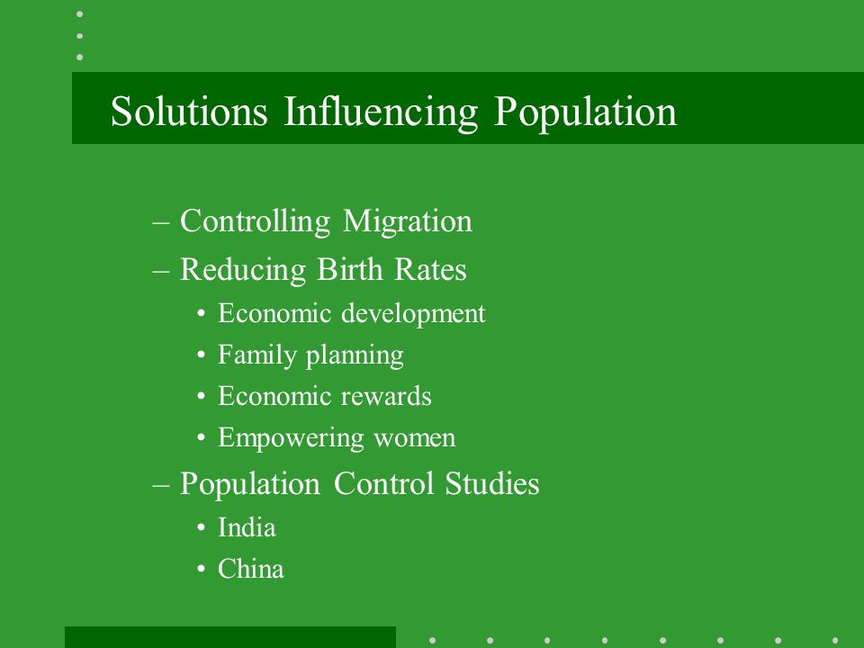Solutions Influencing Population