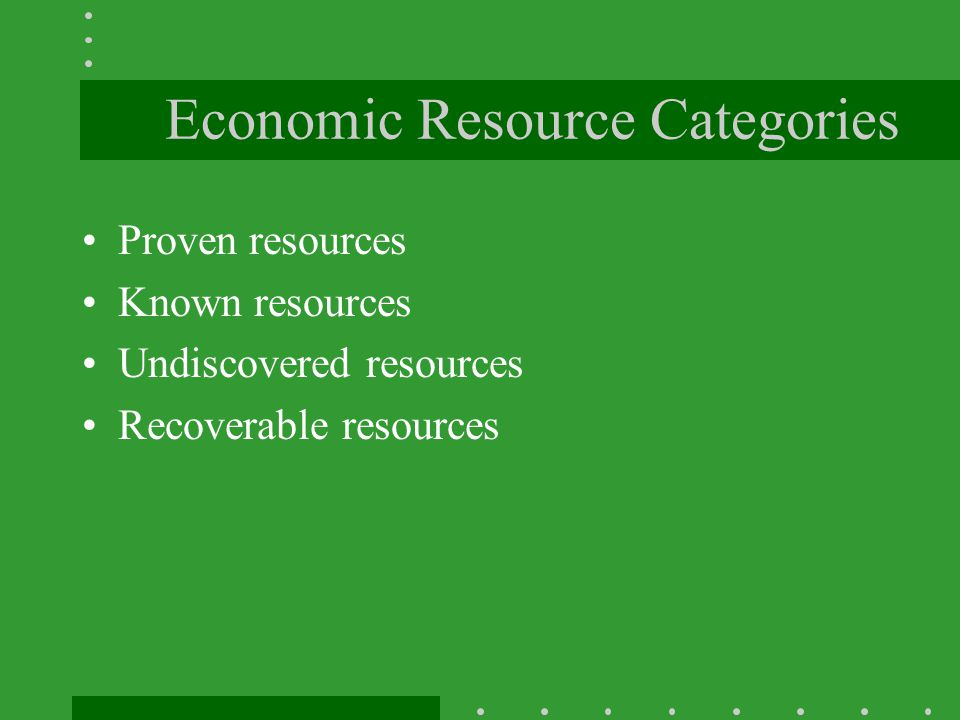 Economic Resource Categories