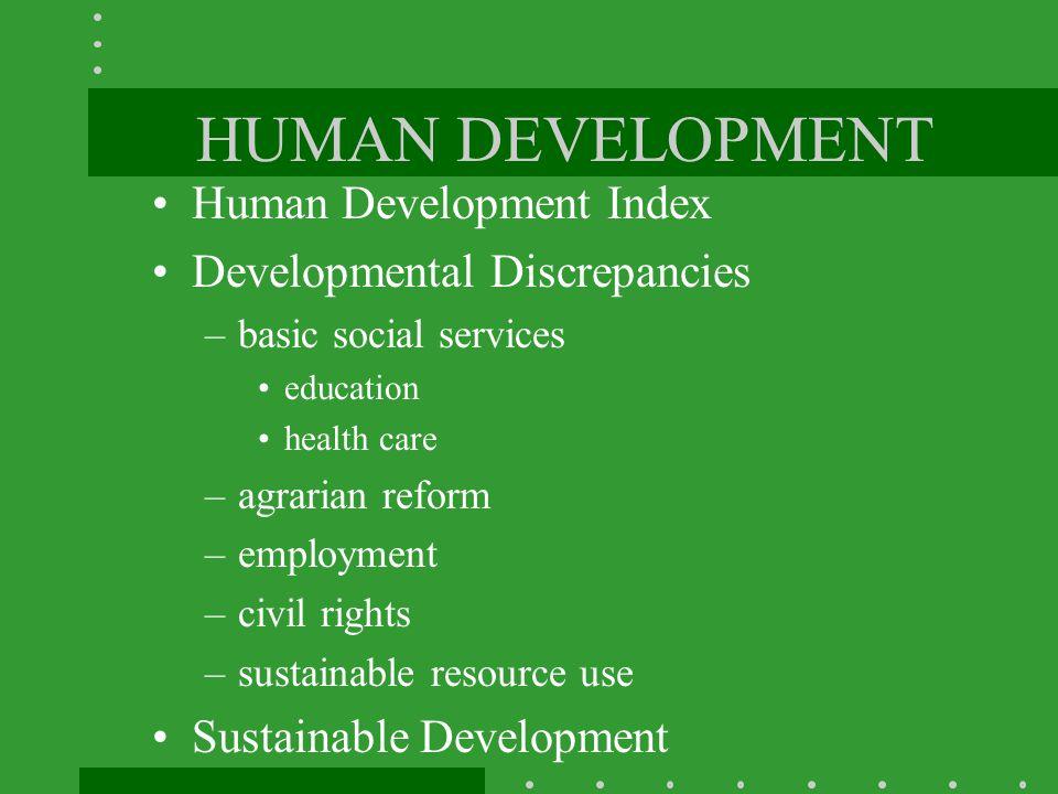 HUMAN DEVELOPMENT Human Development Index Developmental Discrepancies