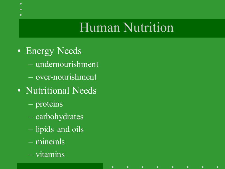 Human Nutrition Energy Needs Nutritional Needs undernourishment
