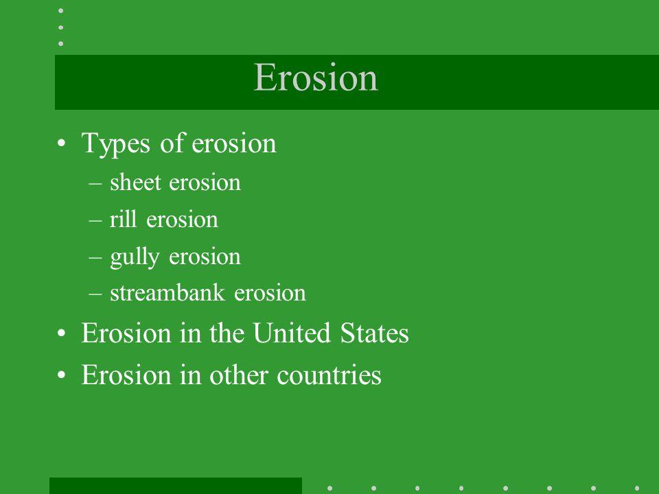 Erosion Types of erosion Erosion in the United States