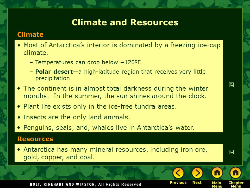 Climate and Resources Climate
