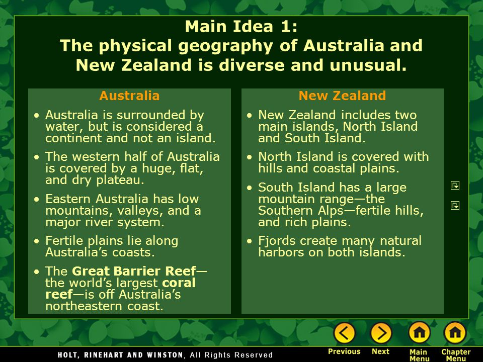 Main Idea 1: The physical geography of Australia and New Zealand is diverse and unusual.