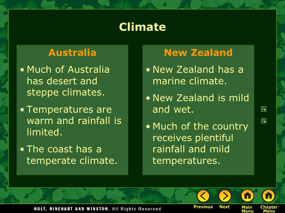 Climate Australia Much of Australia has desert and steppe climates.