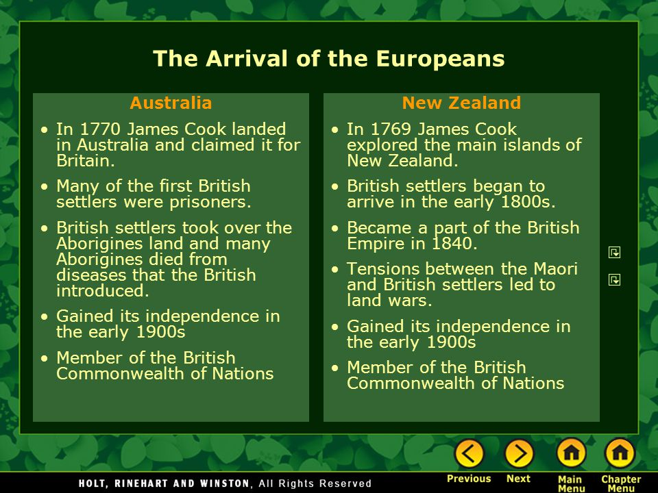 The Arrival of the Europeans