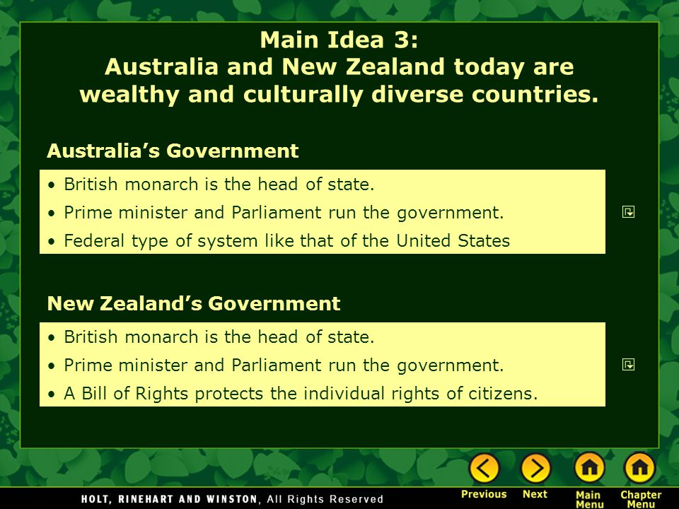 Main Idea 3: Australia and New Zealand today are wealthy and culturally diverse countries.