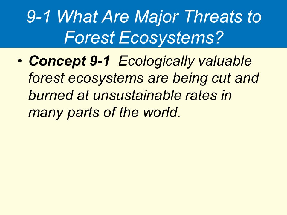 9-1 What Are Major Threats to Forest Ecosystems