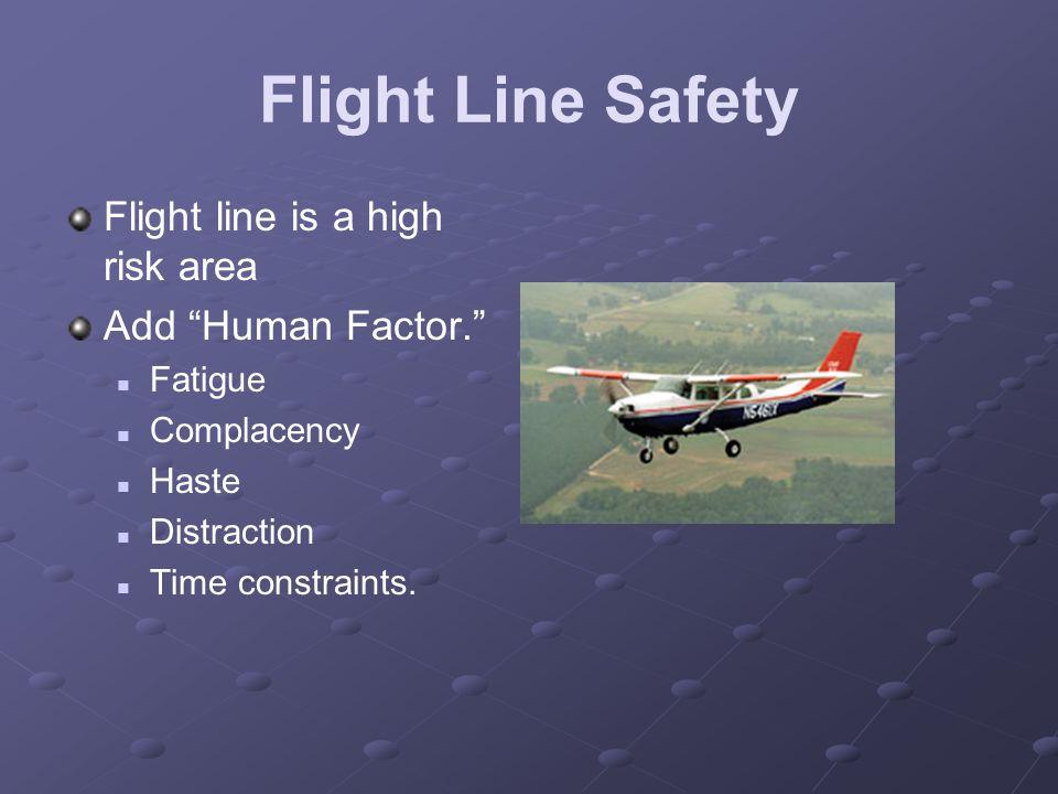 Flight Line Safety Flight line is a high risk area Add Human Factor.