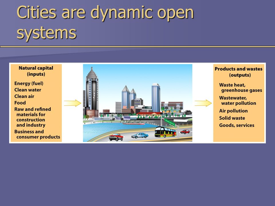 Cities are dynamic open systems