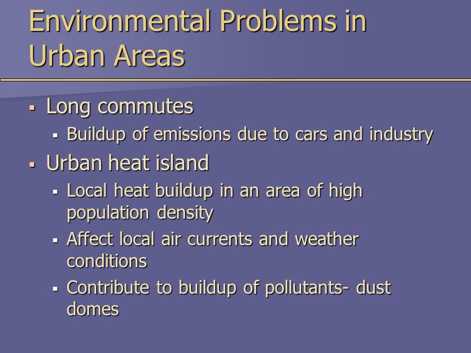 Environmental Problems in Urban Areas