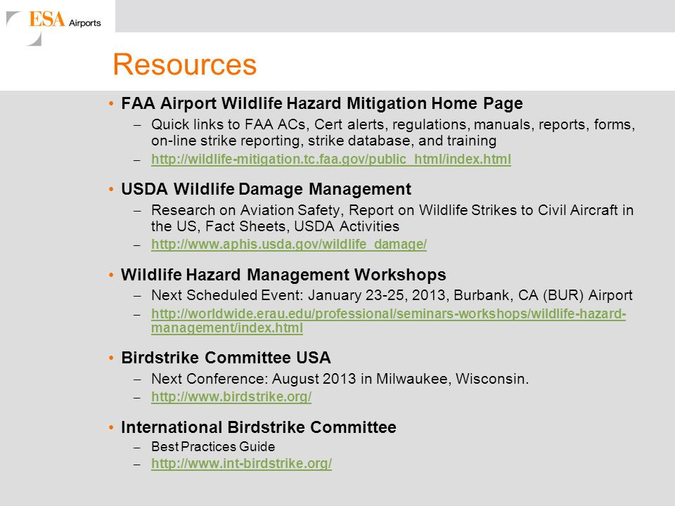 Resources FAA Airport Wildlife Hazard Mitigation Home Page