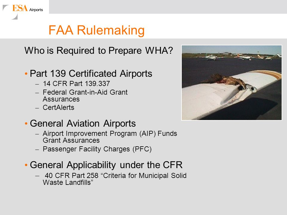 FAA Rulemaking Who is Required to Prepare WHA