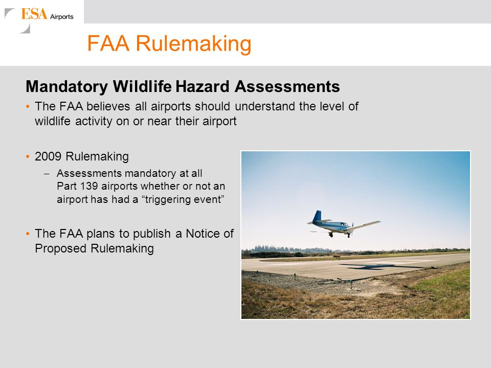 FAA Rulemaking Mandatory Wildlife Hazard Assessments