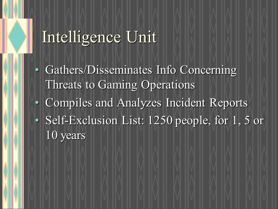 Intelligence Unit Gathers/Disseminates Info Concerning Threats to Gaming Operations. Compiles and Analyzes Incident Reports.