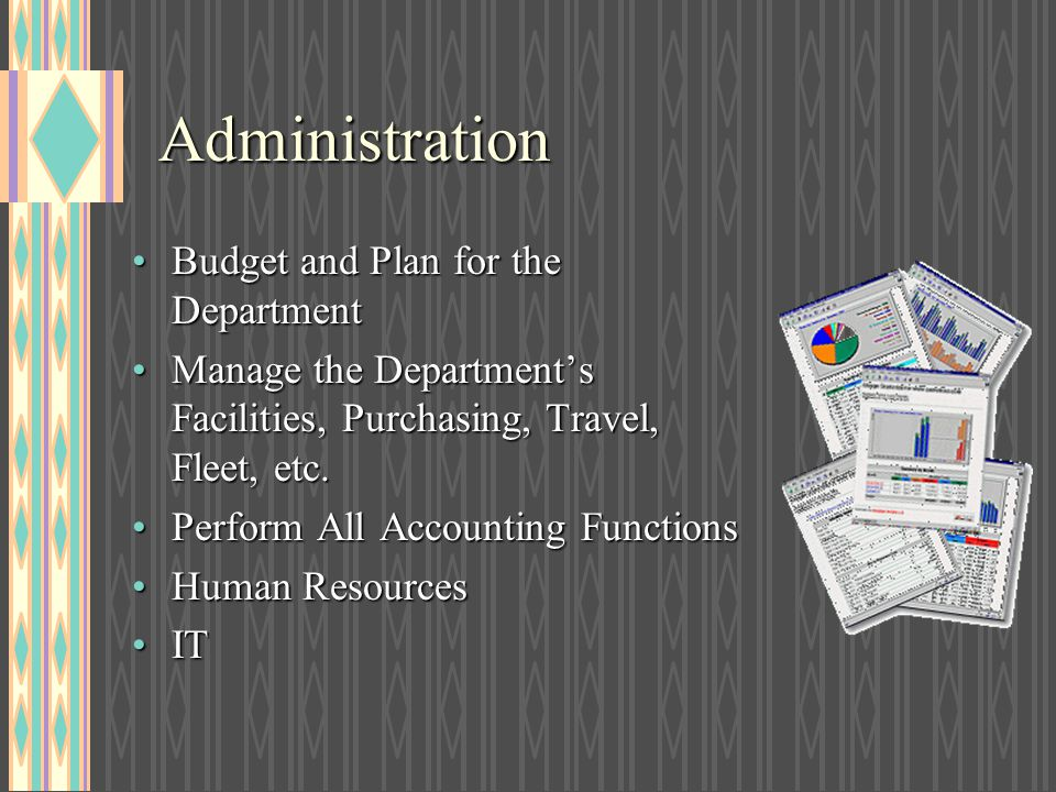 Administration Budget and Plan for the Department