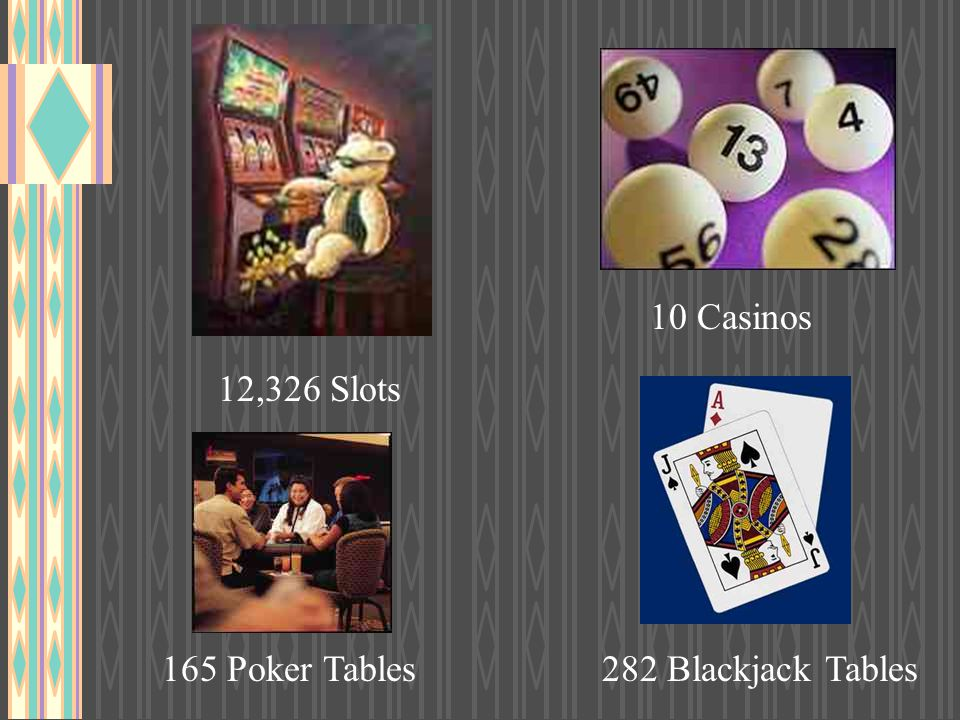 10 Casinos 12,326 Slots 165 Poker Tables 282 Blackjack Tables