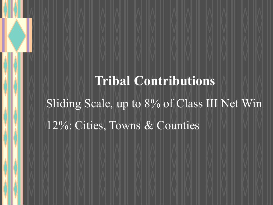Tribal Contributions Sliding Scale, up to 8% of Class III Net Win