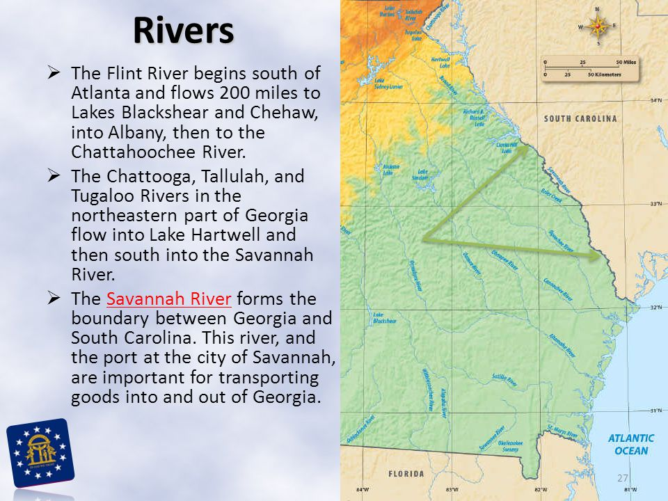 Rivers The Flint River begins south of Atlanta and flows 200 miles to Lakes Blackshear and Chehaw, into Albany, then to the Chattahoochee River.