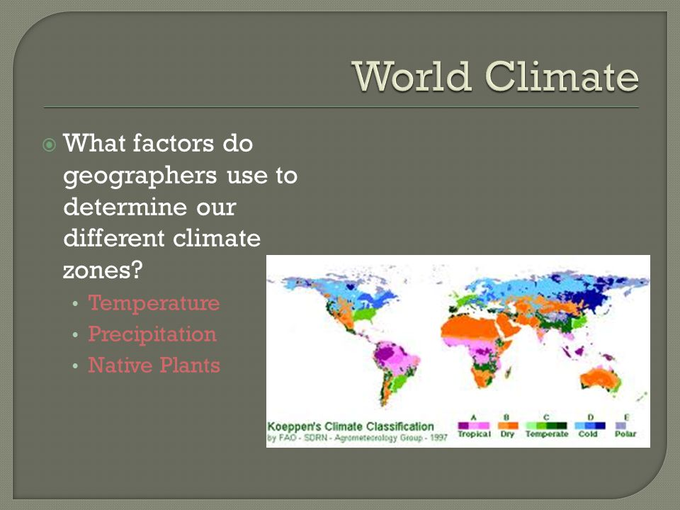 World Climate What factors do geographers use to determine our different climate zones Temperature.