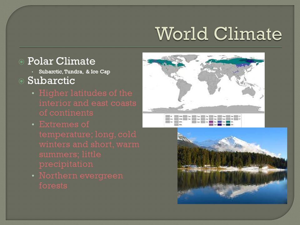 World Climate Polar Climate Subarctic