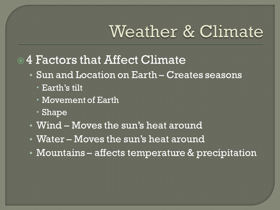 Weather & Climate 4 Factors that Affect Climate