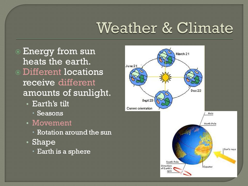 Weather & Climate Energy from sun heats the earth.