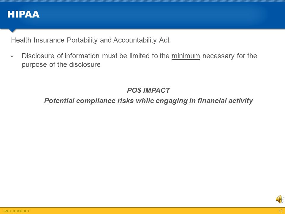 Potential compliance risks while engaging in financial activity