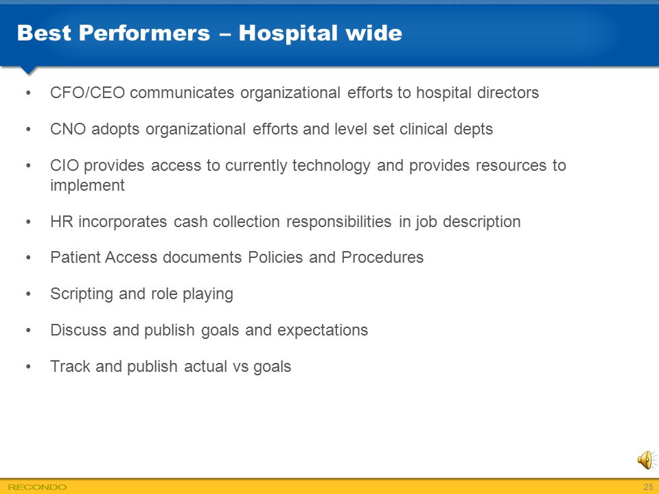 25 best performers - Patient Access Job Description