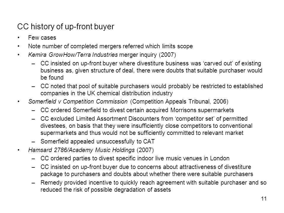 CC history of up-front buyer