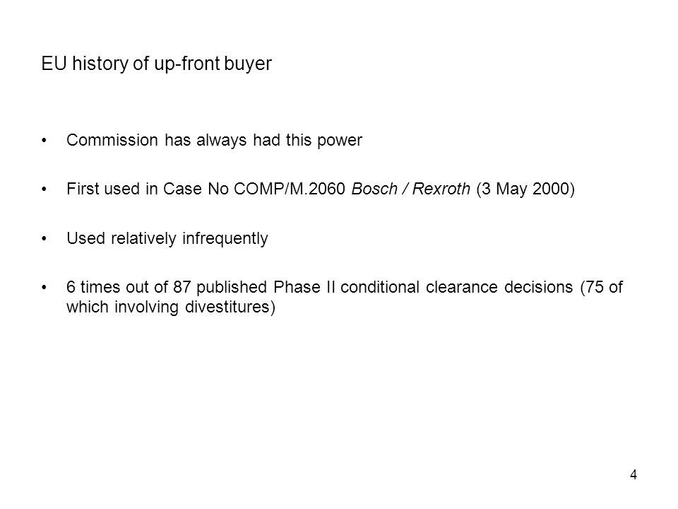 EU history of up-front buyer