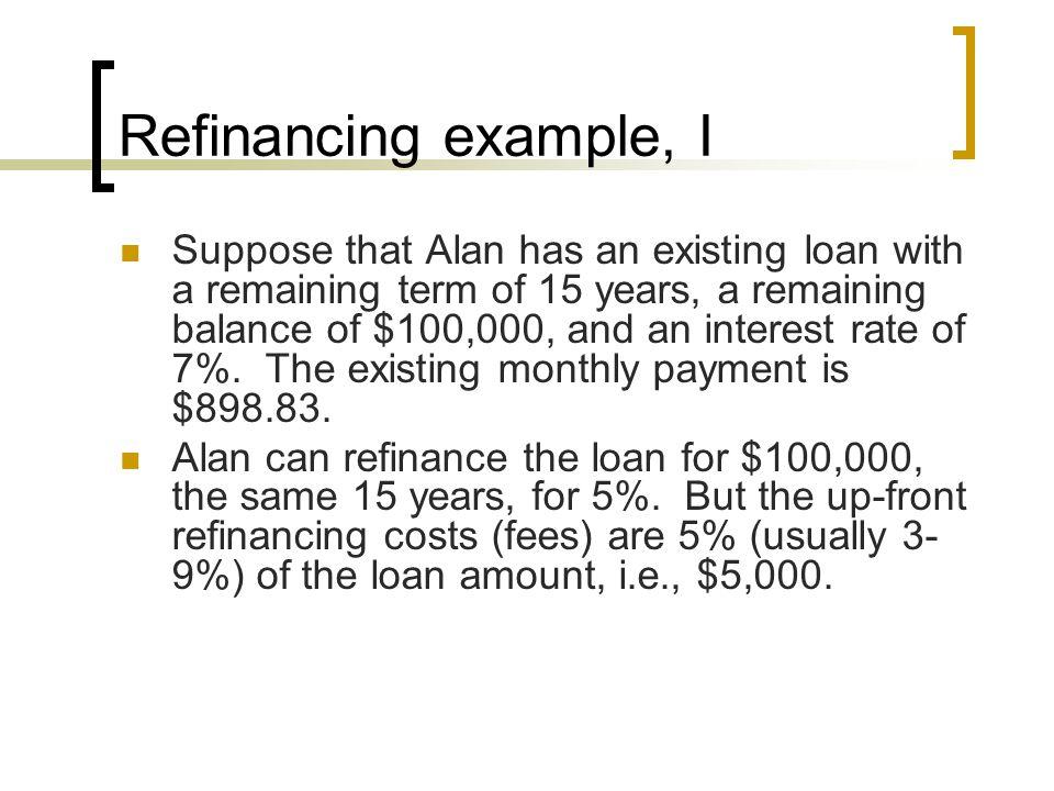 Refinancing example, I