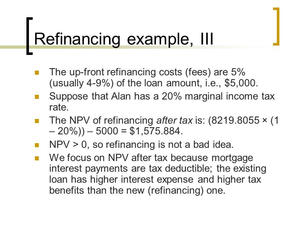 Refinancing example, III