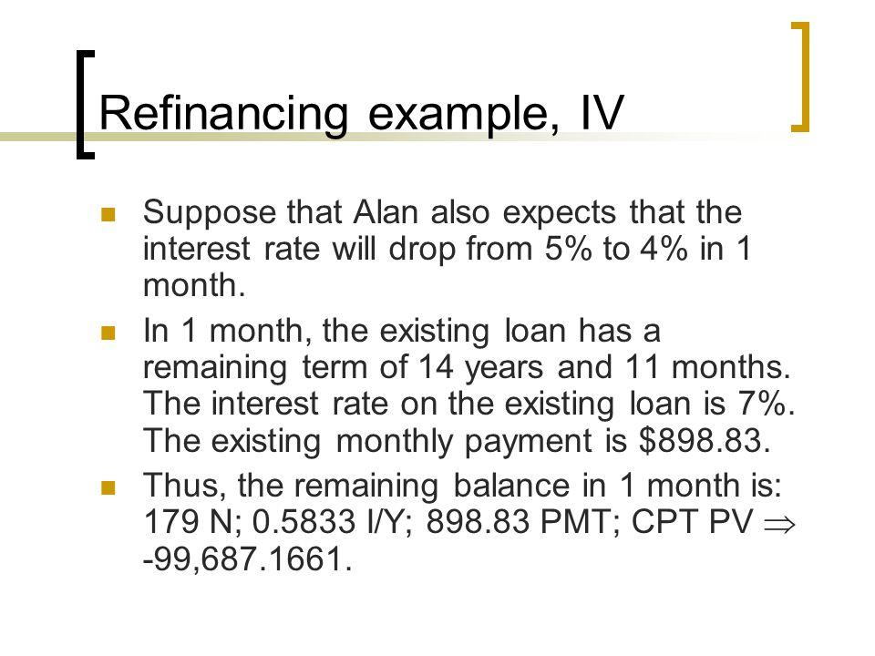 Refinancing example, IV