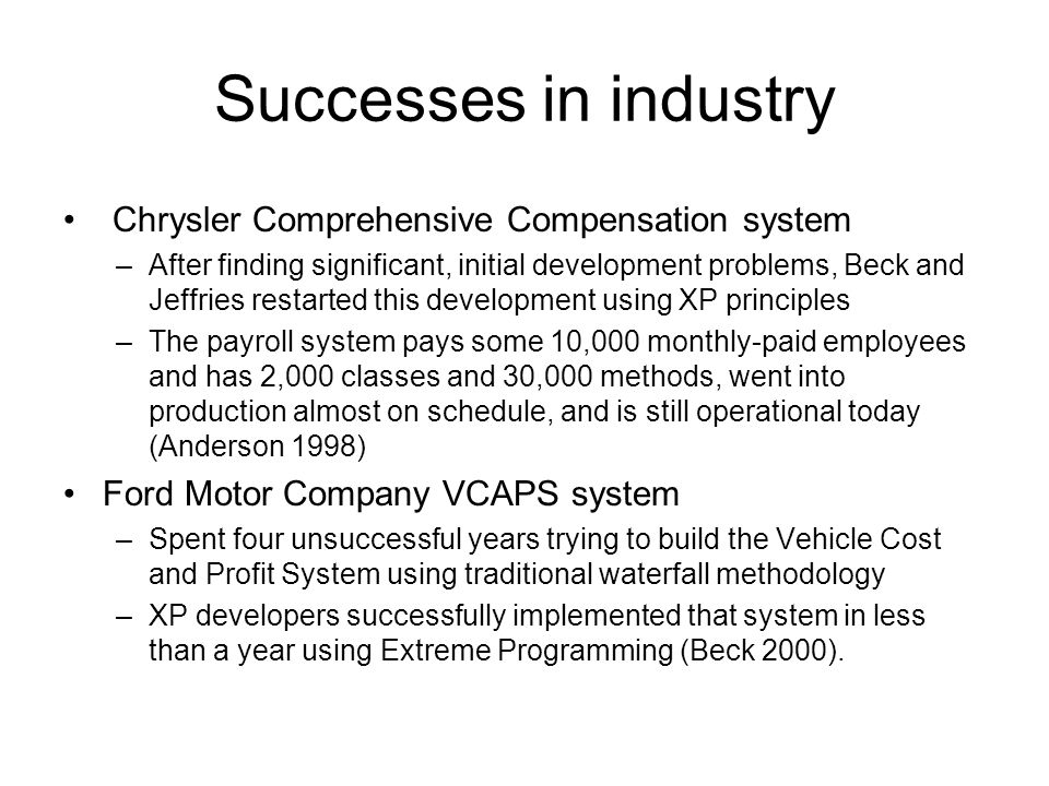 Successes in industry Chrysler Comprehensive Compensation system