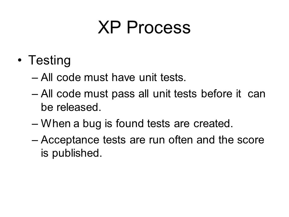 XP Process Testing All code must have unit tests.