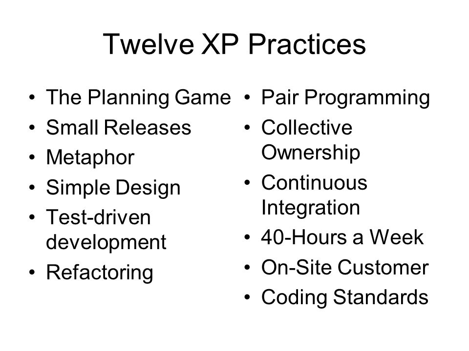 Twelve XP Practices The Planning Game Small Releases Metaphor