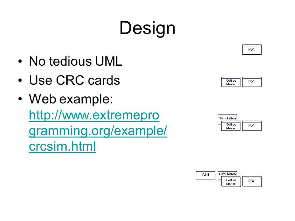 Design No tedious UML Use CRC cards