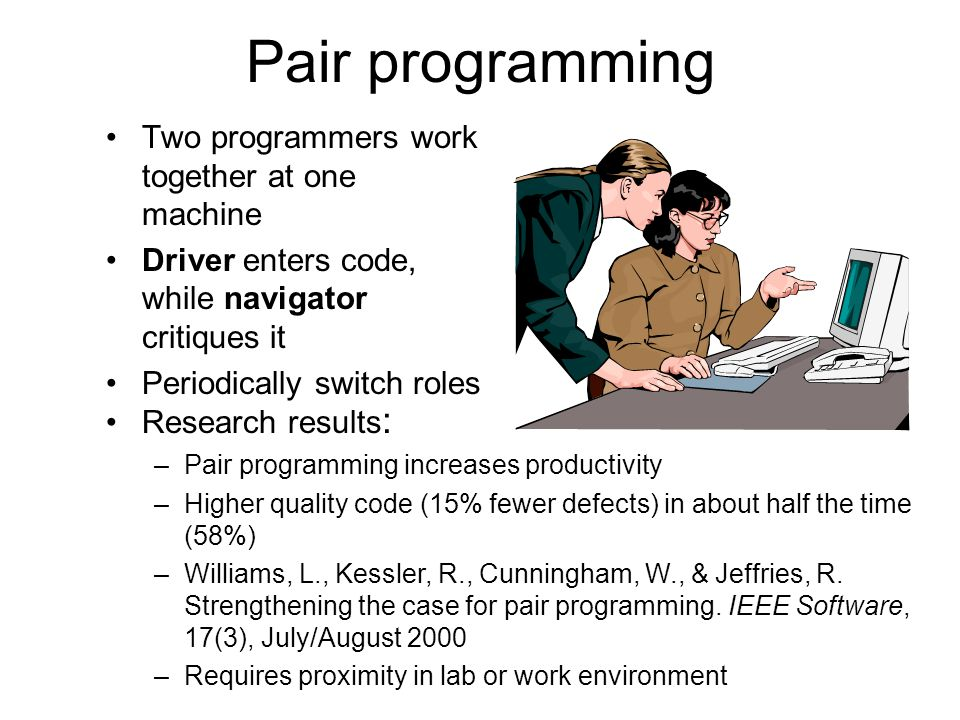 Pair programming Two programmers work together at one machine