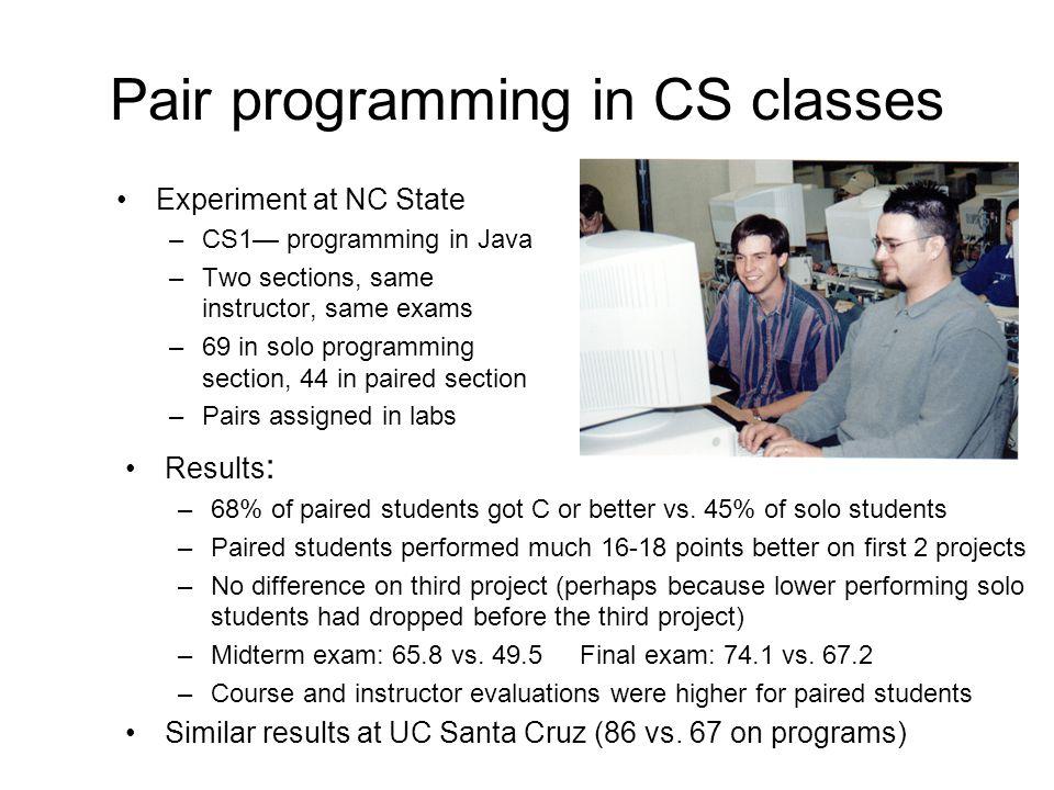 Pair programming in CS classes