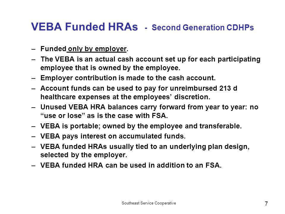 VEBA Funded HRAs - Second Generation CDHPs