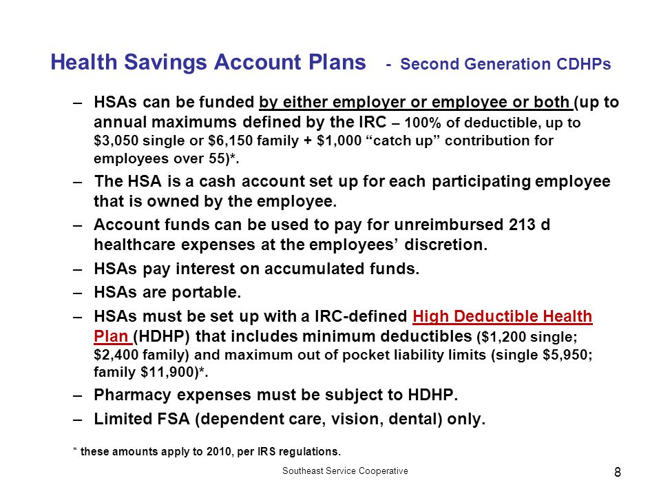 Health Savings Account Plans - Second Generation CDHPs