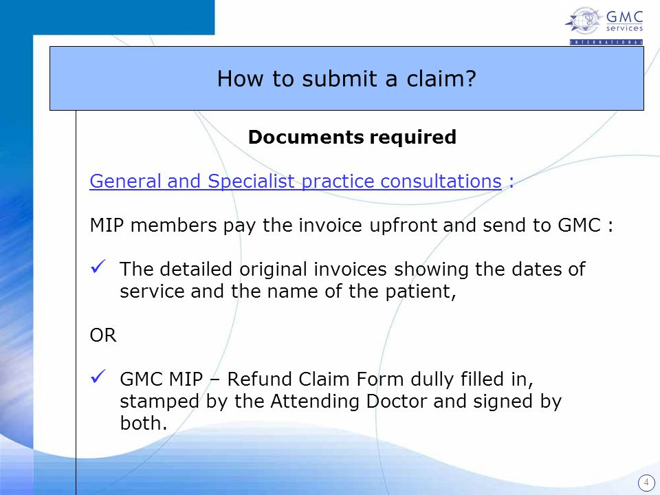 How to submit a claim Documents required