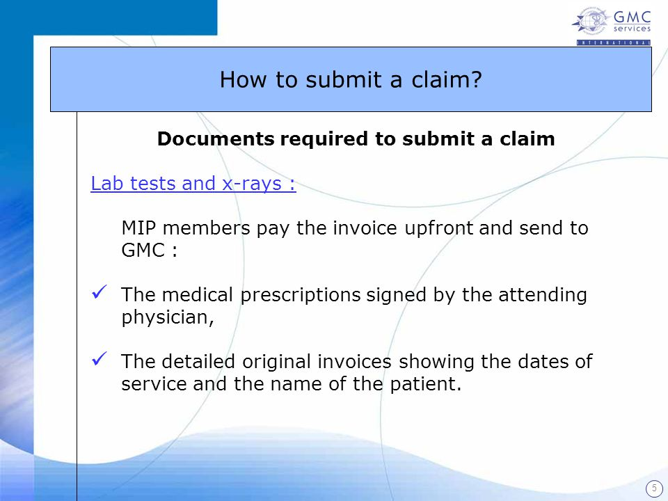 Documents required to submit a claim
