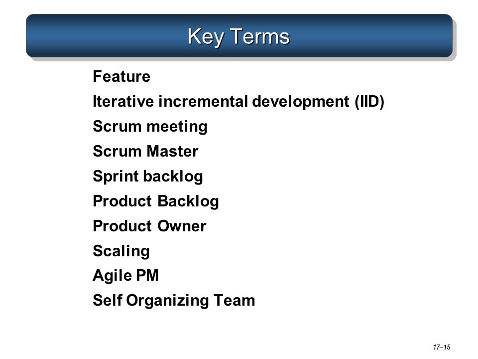 Key Terms Feature Iterative incremental development (IID)