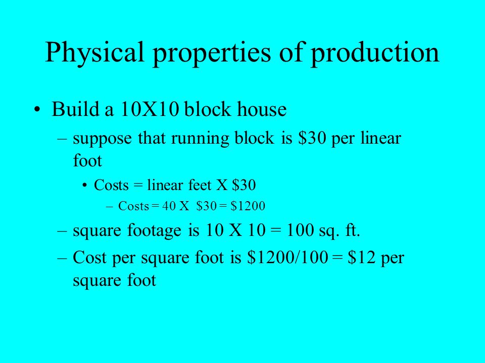 Physical properties of production