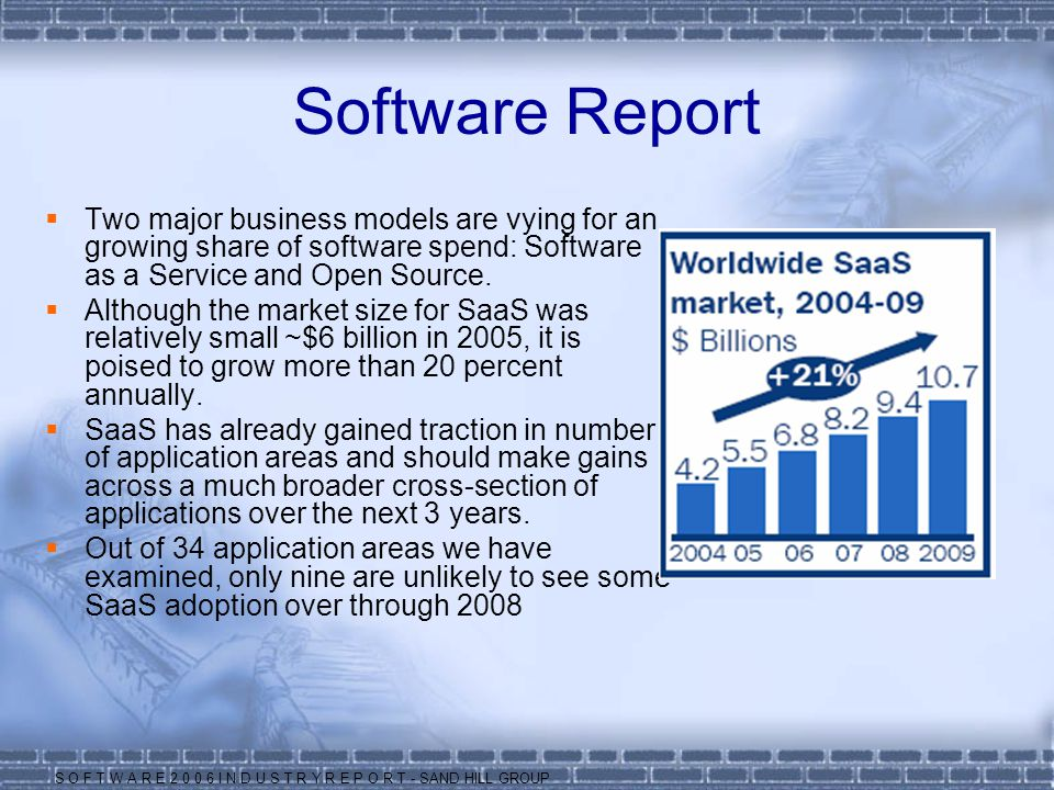 Software Report Two major business models are vying for an growing share of software spend: Software as a Service and Open Source.