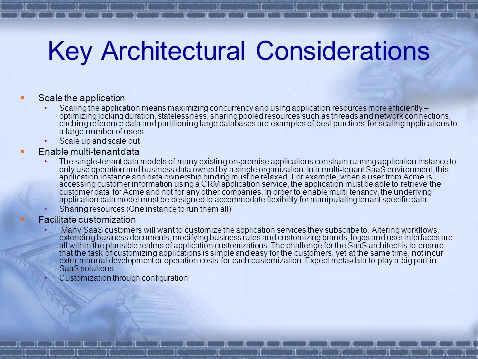 Key Architectural Considerations