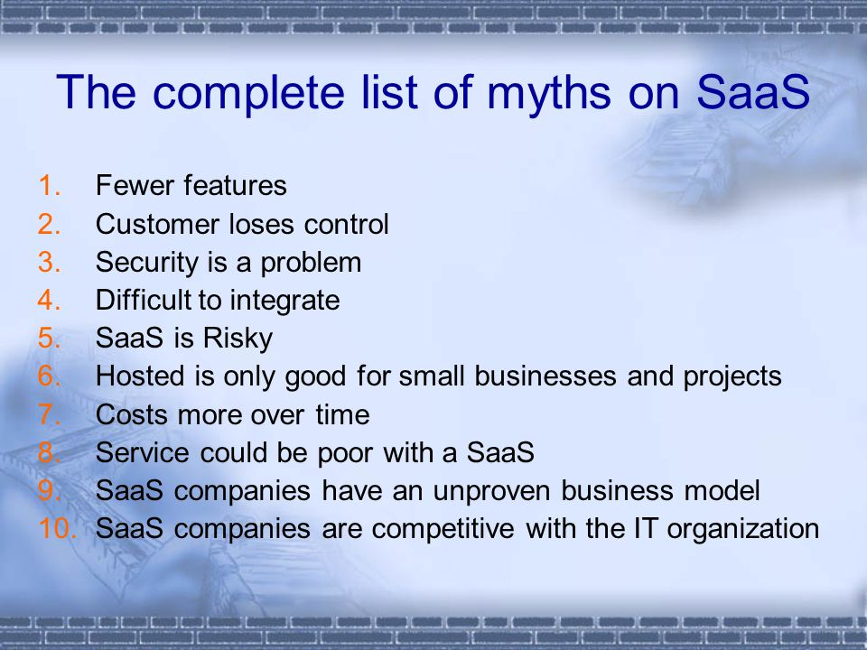 The complete list of myths on SaaS