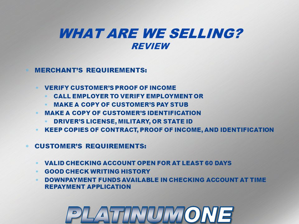 WHAT ARE WE SELLING REVIEW